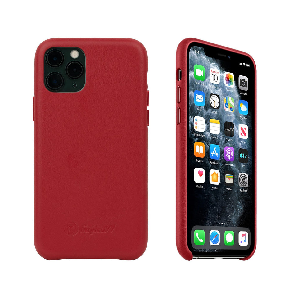 iPhone 11 Pro Max, iPhone 11, iPhone XR, iPhone, iPhone 7 / 8 Plus Real Leather Case, Samsung Galaxy S20 Plus, S20 Ultra Leather Case Leather Phone Case LIMITED77 iPhone 11 Pro Red