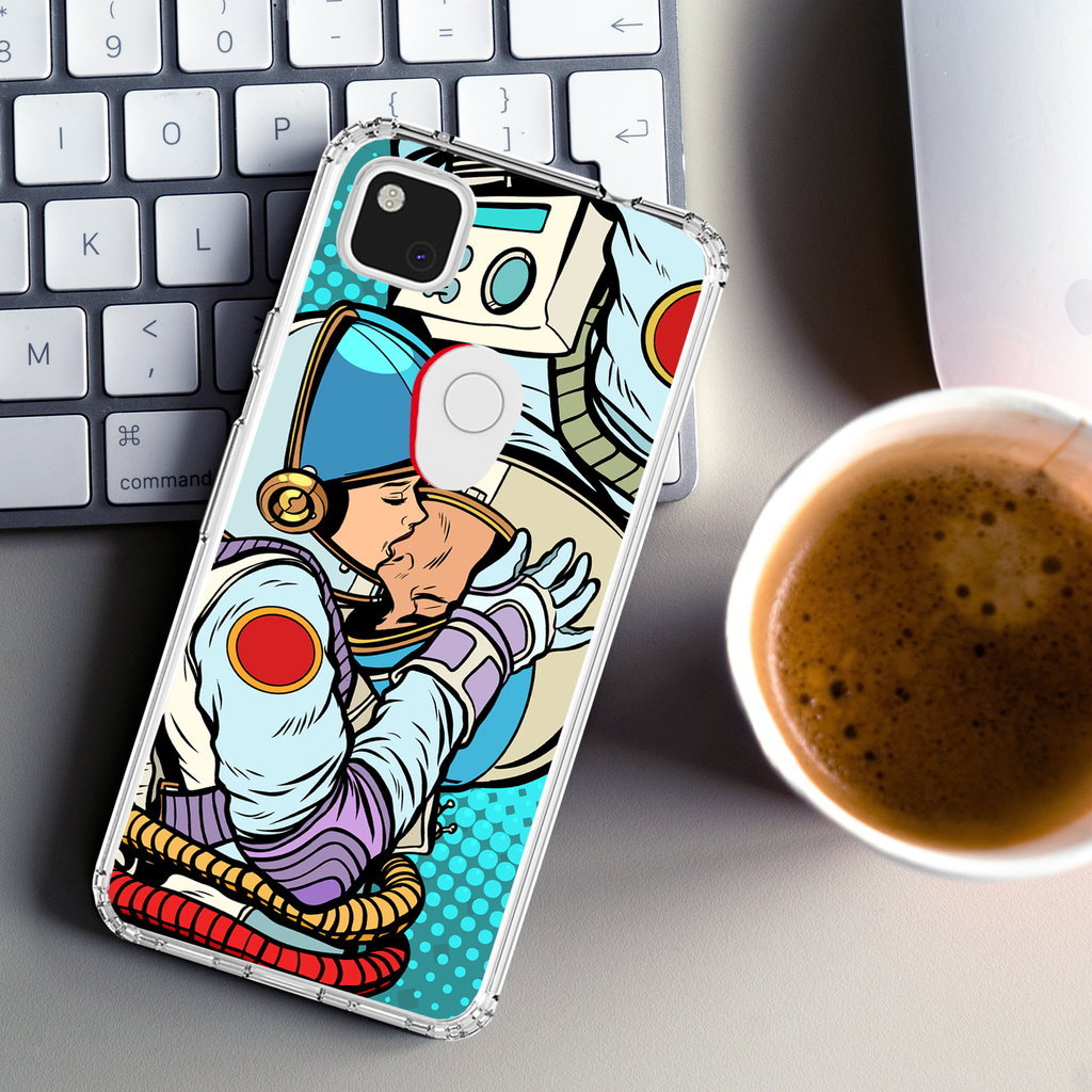 Kissing Astronaut Clear Impact Case for Google Pixel