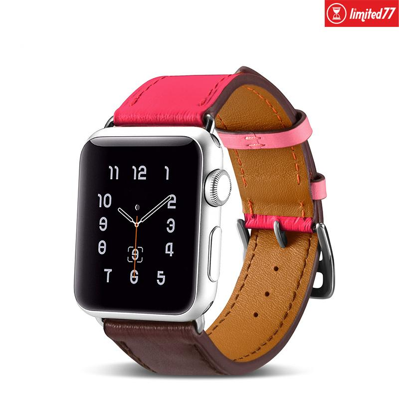 Leather Apple Watch Band Strap Accessories limited77 38mm/40mm Rose+Coffee Leather