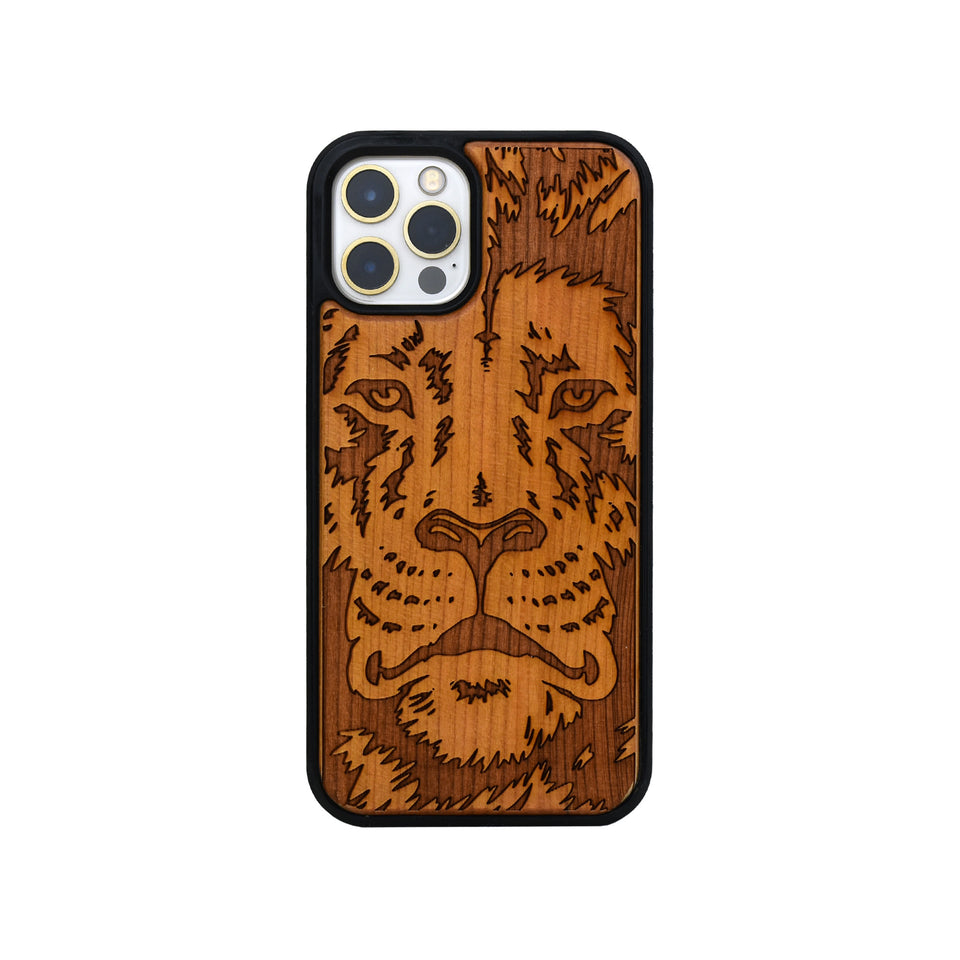 iphone 12 pro case wood lion