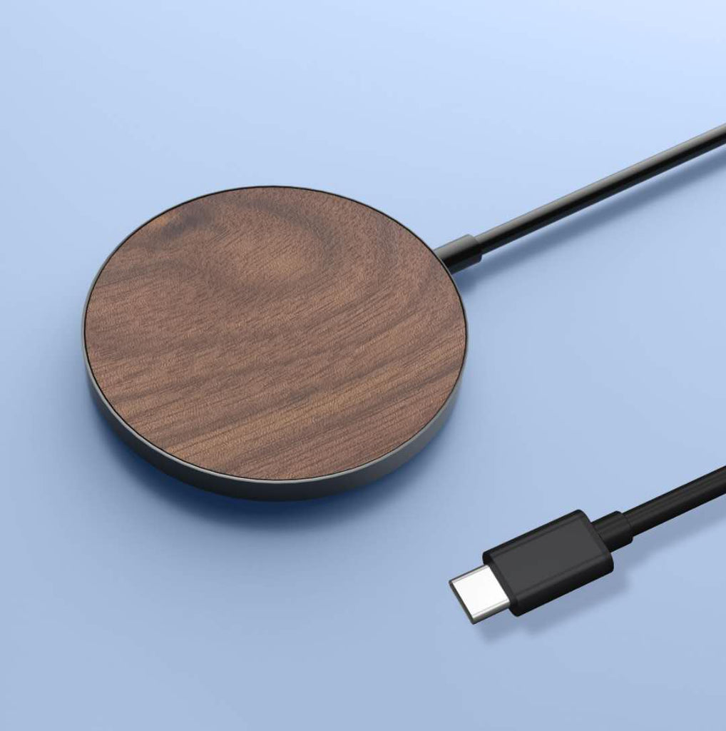 magsafe wood wireless charger with usb-c type charger