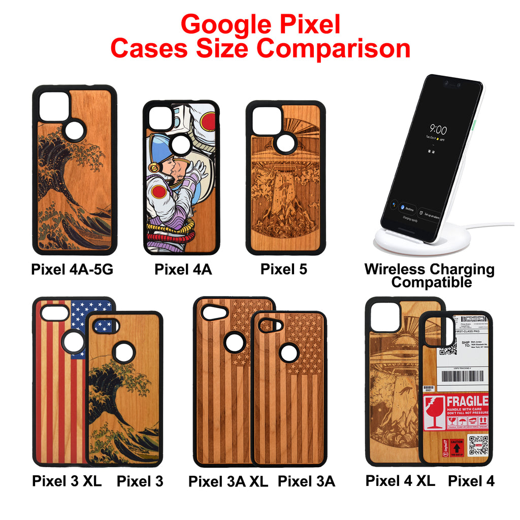 Google Pixel 3, 3 XL, Google Pixel 4, 4 XL Case carved Wooden Bass Design