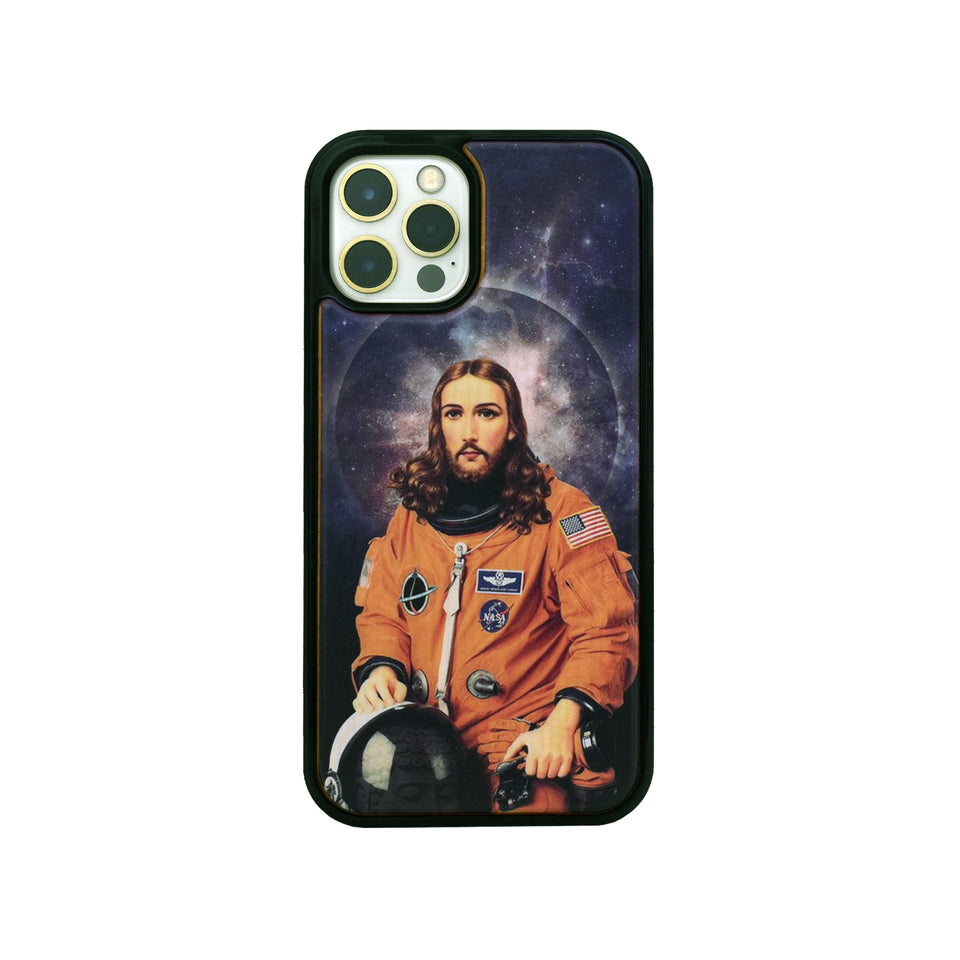 Space Jesus Wooden Unique carved phone case for Apple iPhone
