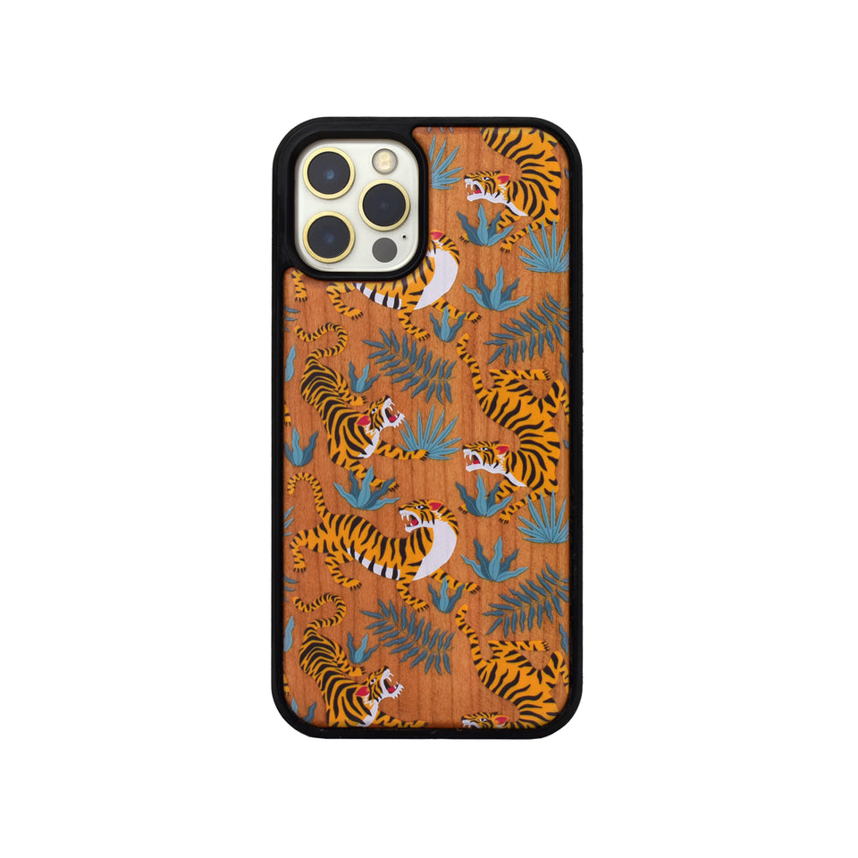 tiger sketch wood iphone 12 case