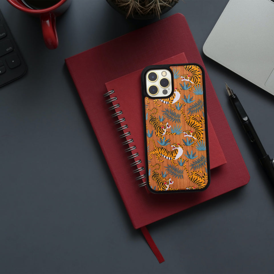Tiger Sketch Wooden Unique carved phone case for Apple iPhone