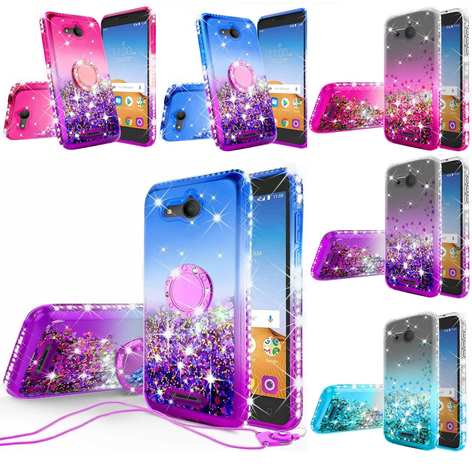 For Alcatel Tetra 5041C Liquid Glitter Diamond Bling Ring Stand