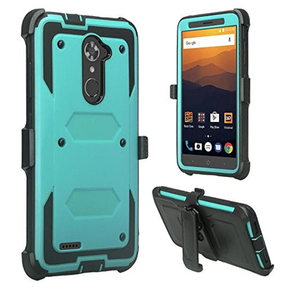 hot sale online 95f72 0e332 ZTE Blade X Max Case, Zmax Pro Case, Grand X Max 2 Case, ZTE Max Duo LTE  Case, SOGA Shockproof Rugged Hybrid Armor Case Cover w/Belt Clip Holster &  ...
