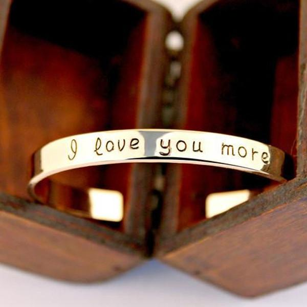 18k Gold Plated - I Love You More Bangle-Hearts and Gifts