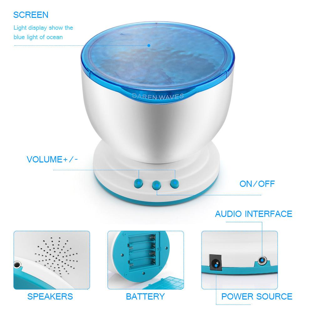 2 in 1 USB Night Light Projector & Mini Portable Speaker Ocean-Hearts and Gifts