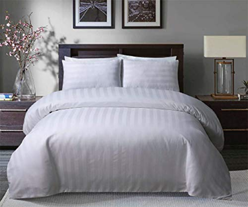 Sleepdown Soft Hotel Quality 250 THREAD COUNT POLYCOTTON Satin Stripe Duvet Cover Set With Pillowcases in White Colour (Double)