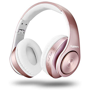 Bluetooth Headphones Wireless,Tuinyo Over Ear Stereo Wireless Headset 35H Playtime with deep bass, Soft Memory-Protein Earmuffs, Built-in Mic Wired Mode PC/Cell Phones/TV- Rose Gold