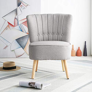 Chester Fabric Accent Occasional Tub Chair Armchair Lounge Bedroom Light Grey