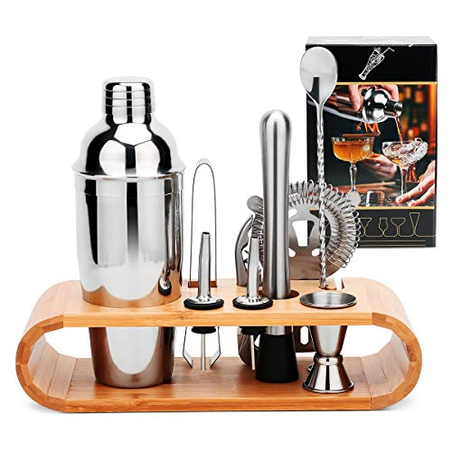 Wa-Very 2 10 PC Set with Sleek Bamboo Stand Base, Kitchen Martini Shaker and bar Tools, Perfect Home Bartending Kit for an Awesome Drink Mixing Experience, Stainless Steel