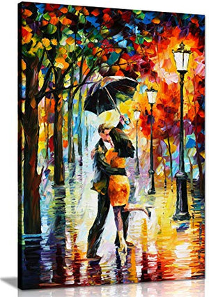 Dance Under The Rain by Leonid Afremov Canvas Wall Art Picture Print for Home Decor (24x16)