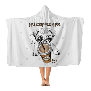 Coffee Dog Premium Adult Hooded Blanket-Apparel-Hearts and Gifts