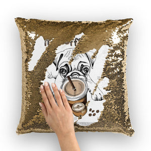 Coffee Dog Sequin Cushion Cover-Homeware-Hearts and Gifts