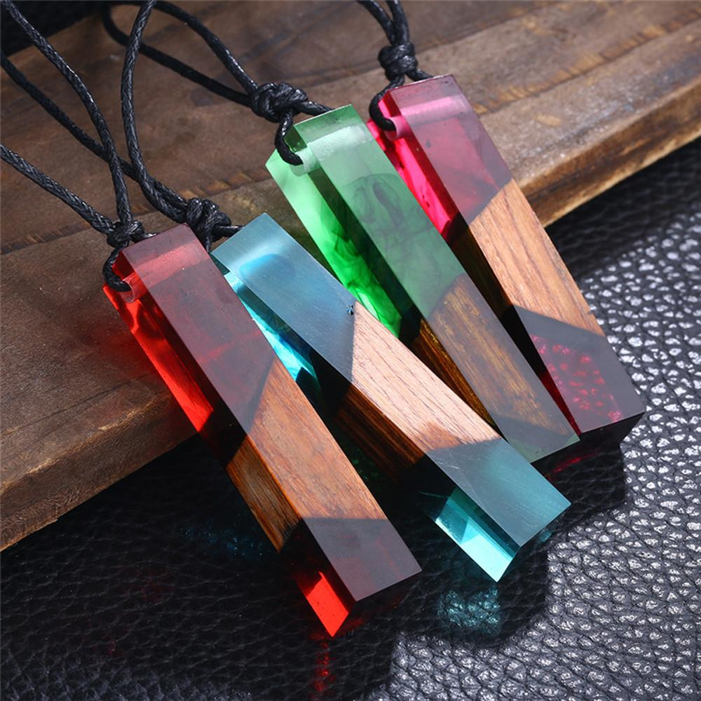 Color Jewelry Fashion Colored Resin Wood Pendant Rope Chain Necklace-Hearts and Gifts