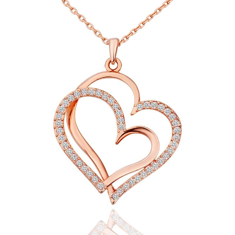 Crystal Wedding Jewelry Double Heart Golden Silver Valentines Gift 1PC Love Adjustable Rose Golden Valentine's Day-Hearts and Gifts