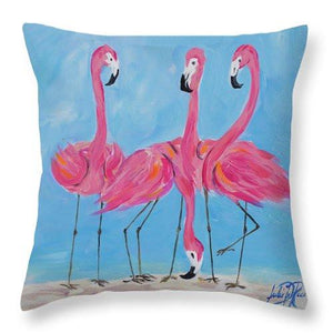 Fancy Flamingos II Throw Pillow-Hearts and Gifts