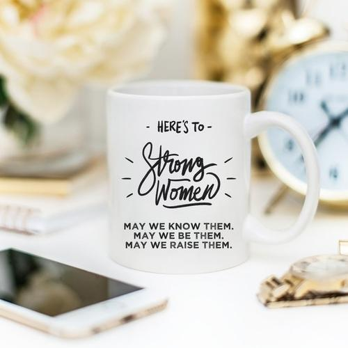 Here's to Strong Women Mug, Funny Mug, Coffee Cup,-Home & Garden-Hearts and Gifts