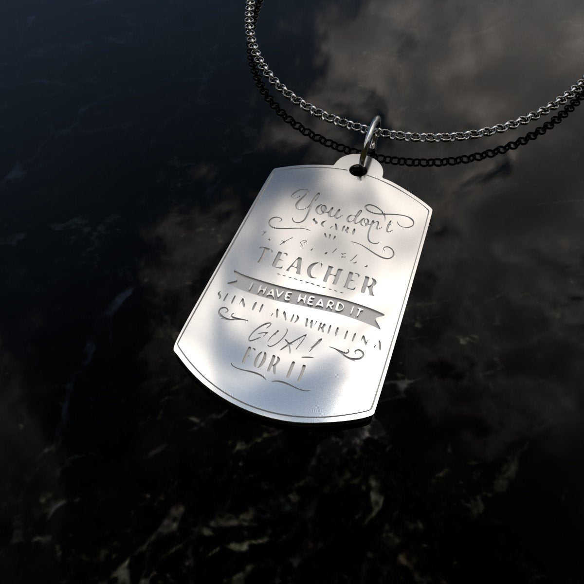 I am a Teacher Sterling Silver Dog Tag-pendant-Hearts and Gifts