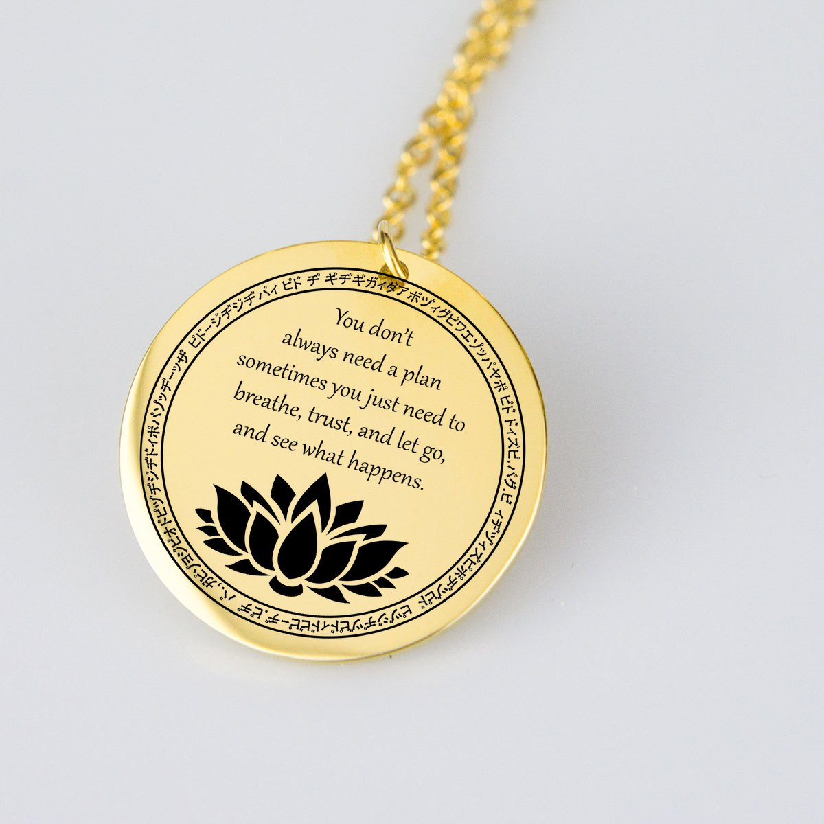 Just Breath - Shiny Gold Pendant-pendant-Hearts and Gifts