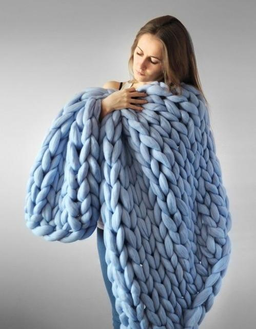 Knitting Throw Blankets Yarn Knitted Blanket Hand-knitted Warm Chunky Knit Cheap Blanket Thick Bulky Sofa Throw-Hearts and Gifts