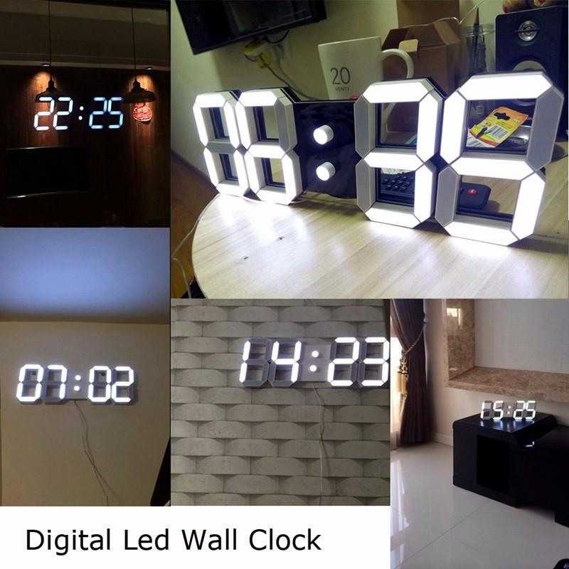 LARGE DIGITAL 3D LED WALL CLOCK-Hearts and Gifts