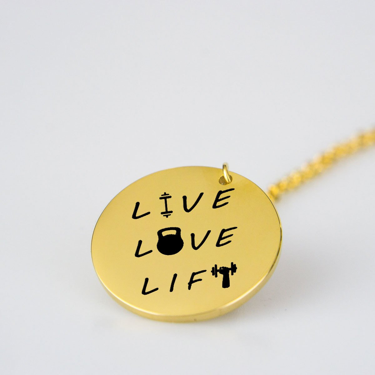 Live Love Lift - Stainless Steel-pendant-Hearts and Gifts