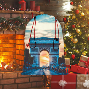 Paris Sublimation Linen Drawstring Sack-Homeware-Hearts and Gifts