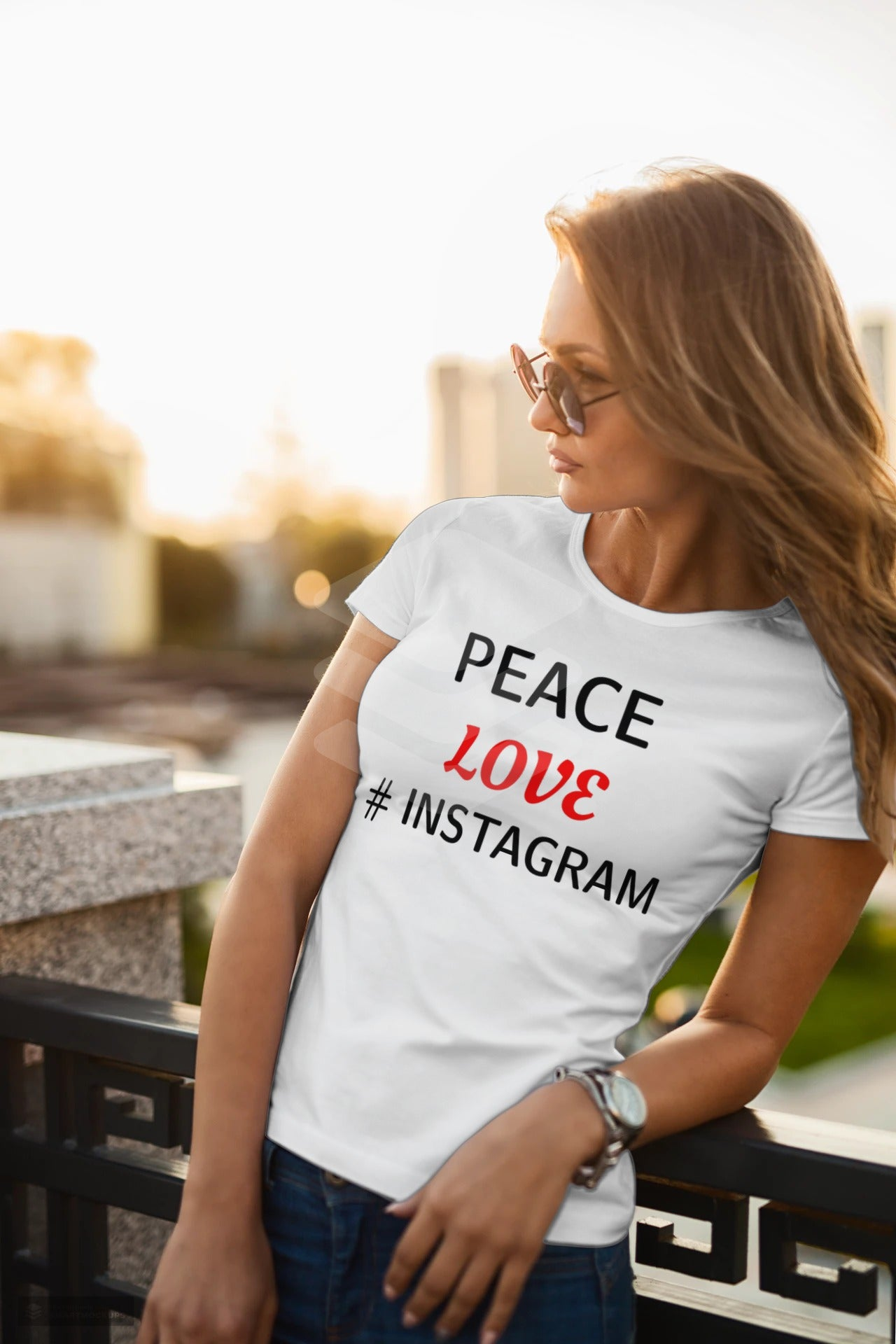 Peace Love Instagram Classic Sublimation Adult T-Shirt