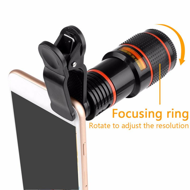Telephoto Lens 12X Zoom Camera Lens with Clips For iphone 4S 5S 6S 7 All Phone-Camera lens-Hearts and Gifts