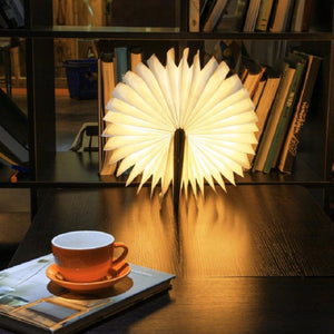 USB Rechargeable LED Foldable Wooden Book Shape Desk Lamp Nightlight Booklight for Home Decor Warm White Light Drop Shipping-Hearts and Gifts