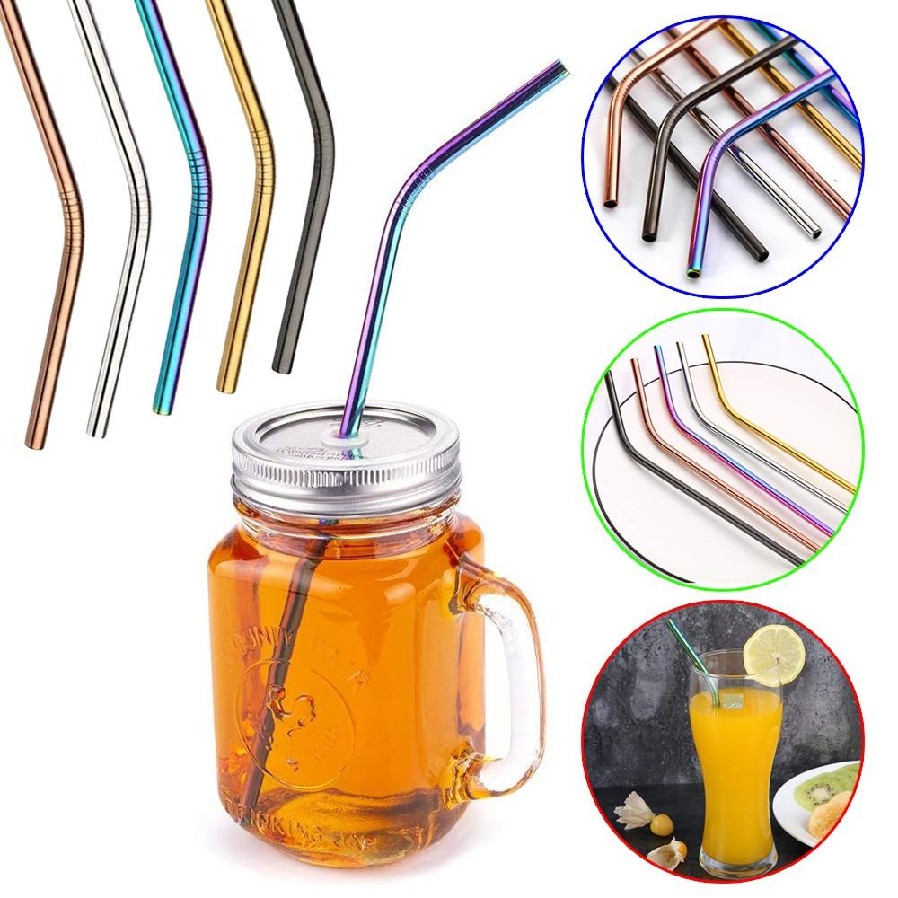 Useful Reusable 304 Stainless Steel Straw Milk Tea Straws with Brush Party Drinking Accessories-Hearts and Gifts