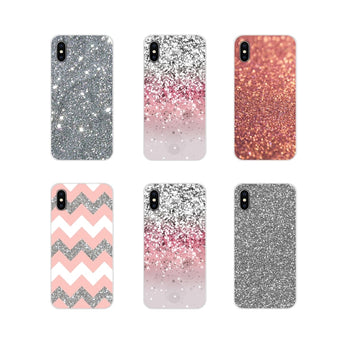 Silver Pink Glitter Art Phone Cases