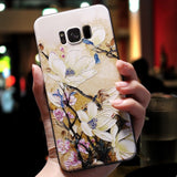 3D Flower Emboss Case For Samsung Galaxy