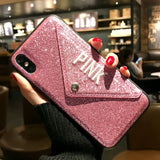 Glitter Embroidery Leather Cute Pink Case