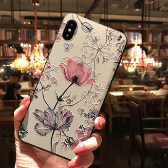 3D Emboss Flower Case For Samsung Galaxy