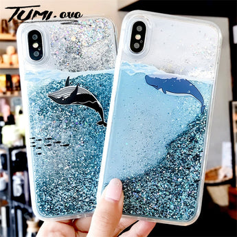 Whale Pattern Dynamic Liquid Quicksand Phone Case