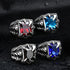 Exquisite Dragon Claw With Red Blue Black Stone Ring