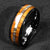 Black Tungsten Koa Wood Abalone Ring