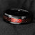 Red Opal Black Dragon Inlay Tungsten Ring