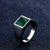 Titanium Blue Green Square Stone Ring