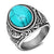 Opal Retro Titanium Steel Inlaid Onyx Ring