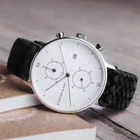 "Chrono Silver ""Black Woven Leather"""