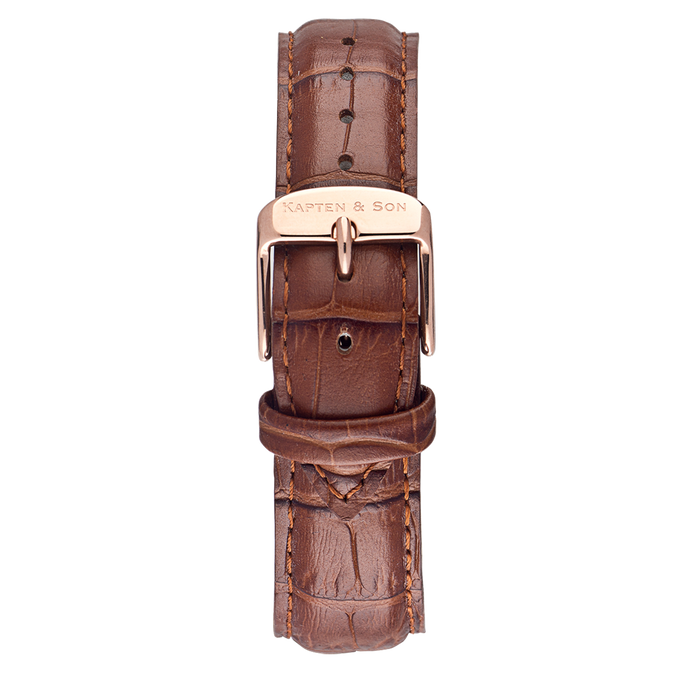 Leather Strap Brown Croco Leather