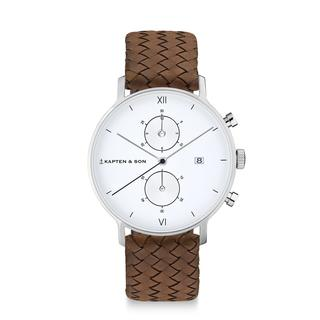 "Chrono Silver ""Brown Woven Leather"""