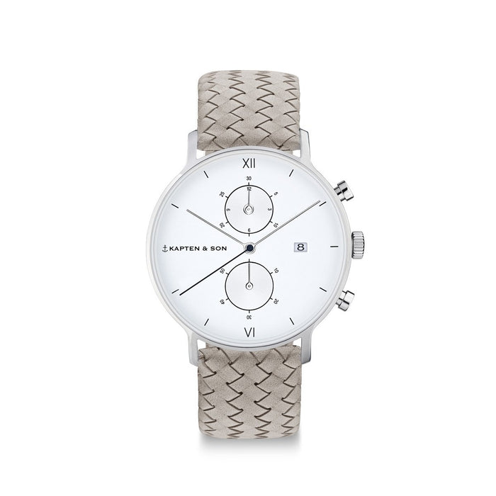 "Chrono Small Silver ""Grey Woven Leather"""