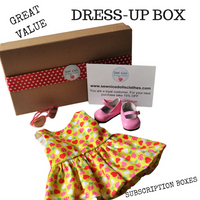 subscription boxes, dolls clothes, dolls shoes, dolls accessories, 18 inch dolls, dressup