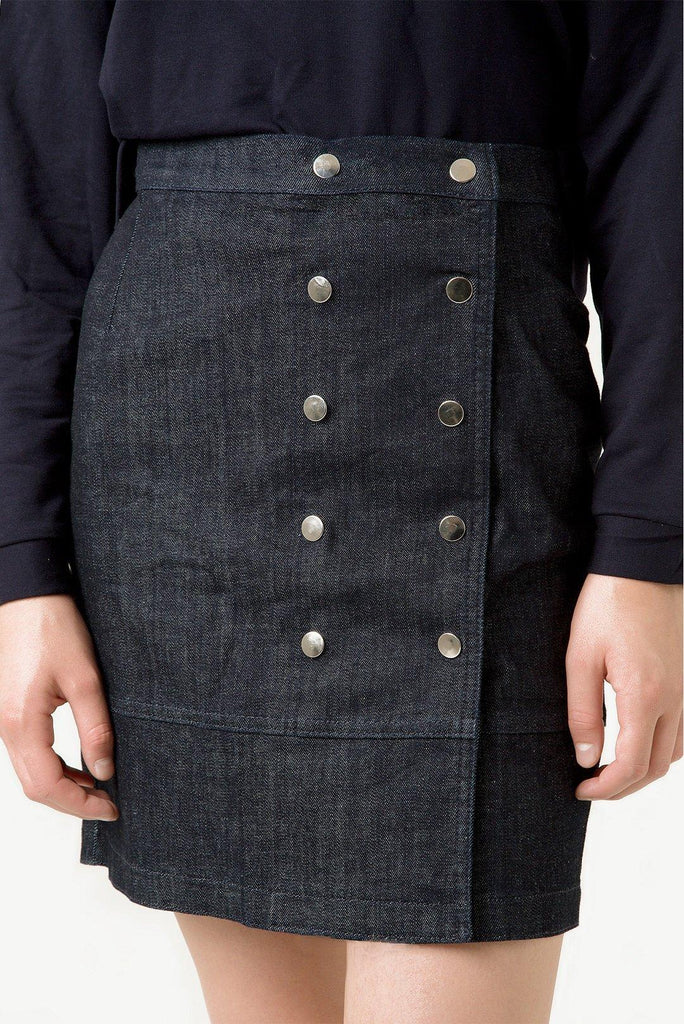 Organic Sustainable Front Stud Button Detailed Denim Eva Envelope Skirt - Rakha
